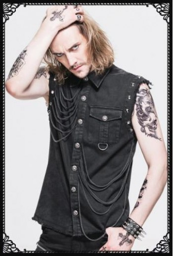 DevilFashion Punk studs sleeveless shirt