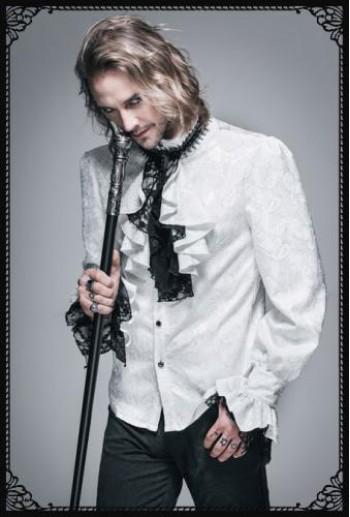 DevilFashion Gothic vintage pattern gothic blouse(WH)