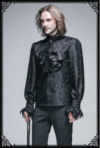 DevilFashion Gothic vintage pattern gothic blouse(BK)