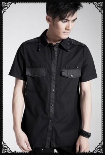 Punk-rave Basic design pocket short sleeve shirt