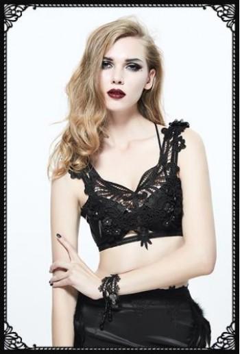 Devil Fashion gothic lace floral harness bralette