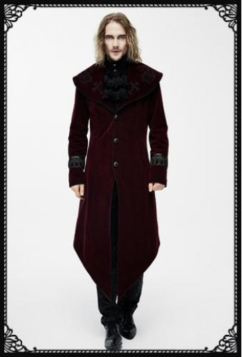 Devil Fashion Sorrow Coat in Burgundy