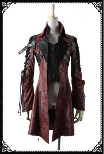 Punk Rave High collar unisex coat(RD)