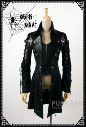 Punk Rave High collar unisex coat(BK)
