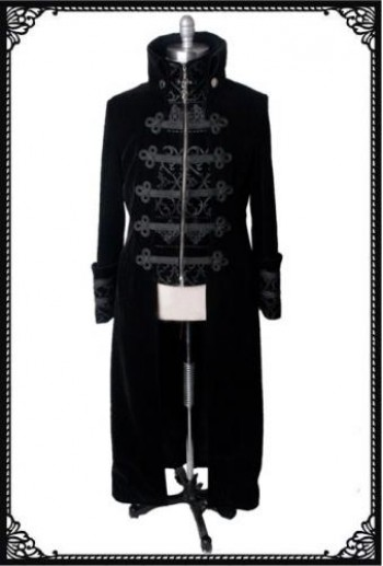 Punk-Rave Black velvet military coat BK