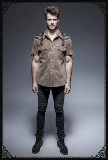 Punk Rave Steampunk Military Coffee Brown Shirt