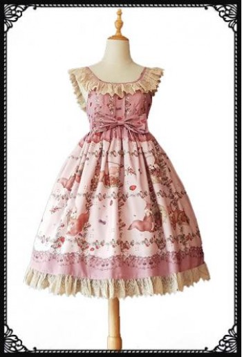 Squirrel's Berries Lolita Dress (Rose Pink)