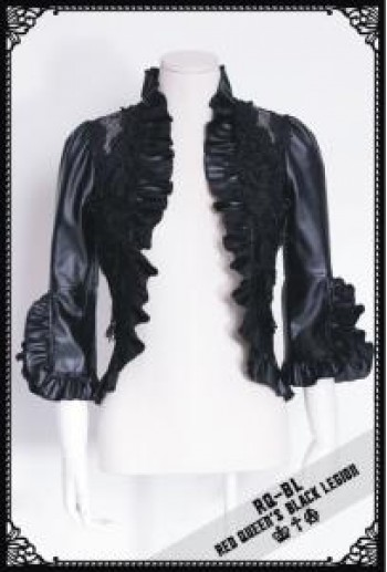 RQ-BL Black faux leather bolero