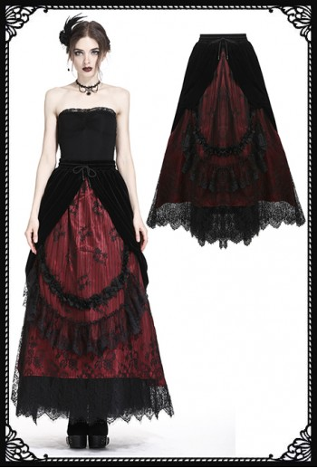 Dark in Love Red Cascade Skirt