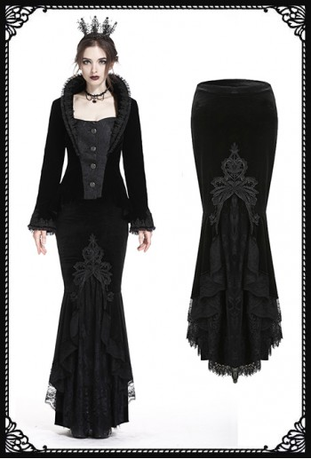 Dark in Love Mist Mermaid Velvet Skirt