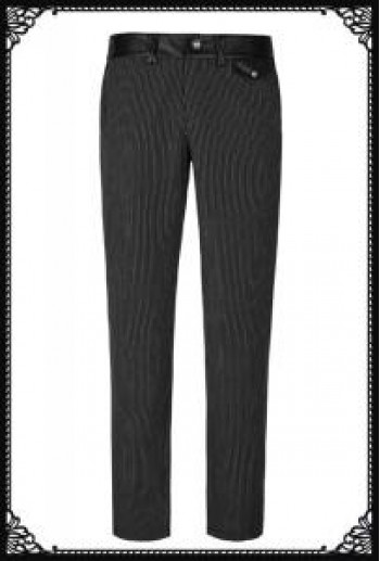 Punk Rave striped simple trousers(BK)