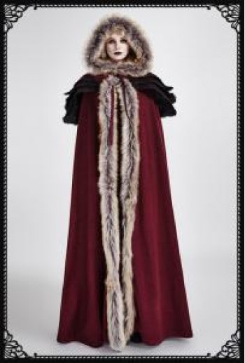 Punk-Rave Winterfell fur long cloak(RD)