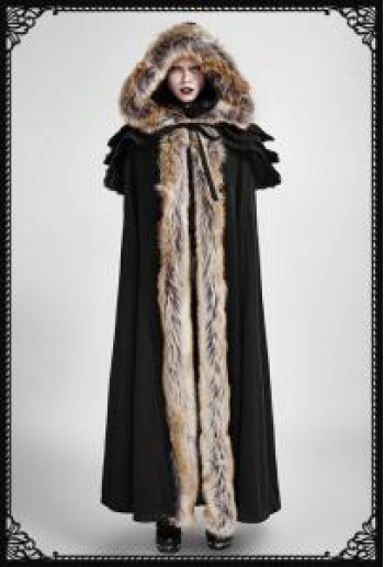 Punk-Rave Winterfell fur long cloak(BK)