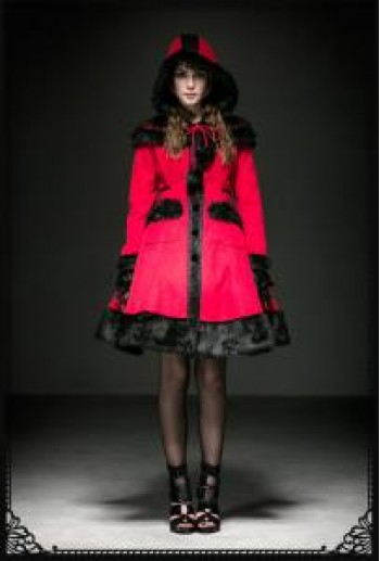 Punk-rave Lolita doll coat(RD)