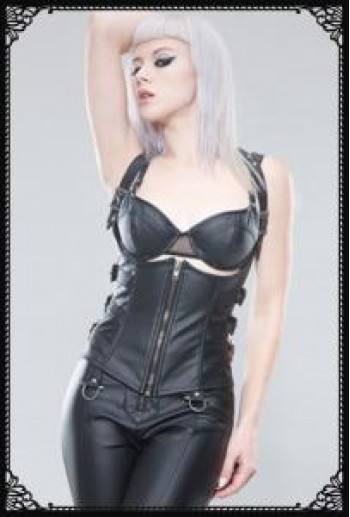 Underbust corset with angled side buckles