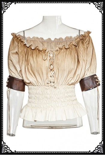 Punk Rave Steampunk Beige Blouse