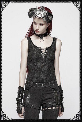 Punk Rave Dust Staining Choker Tank