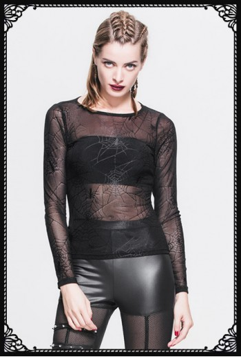 Devil Fashion Spider Web Mesh Top