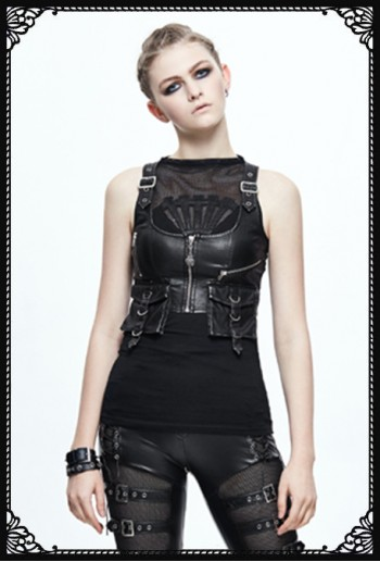 Devil Fashion Lara Leatherette Waistcoat Top