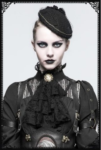 Punk Rave Black Victorian Collar with Brooch(BK)