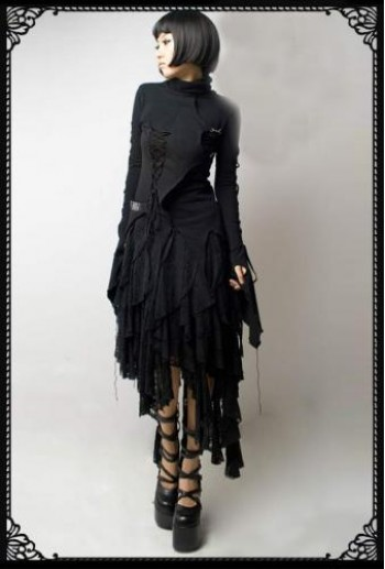 Gothic uneven lace skirt