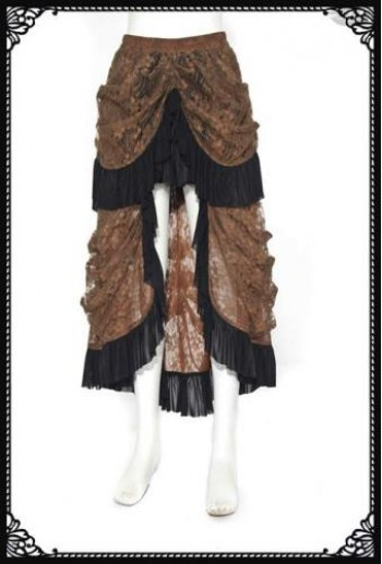 RQ-BL Brown layered skirt