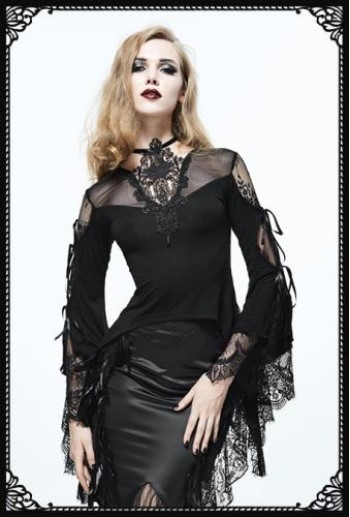 Eva Lady gothic lace corset tail flared sleeves top