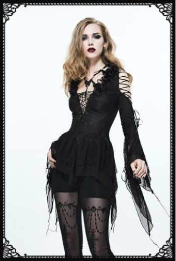 Eva Lady gothic criss cross v neck flared sleeves embroidered top