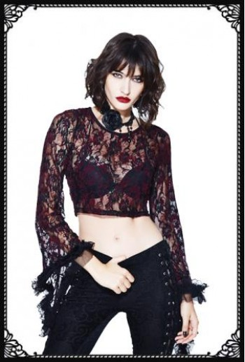 Devil Fashion Lace Crop Top Red