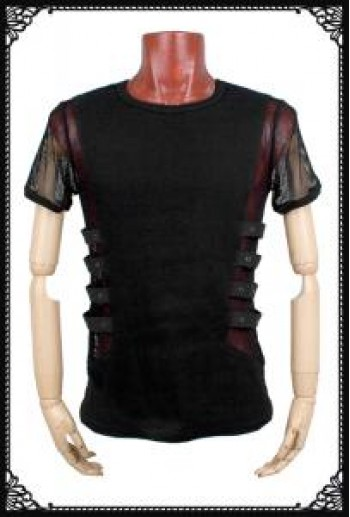 Simple fishnet sleeve industrial T-shirt