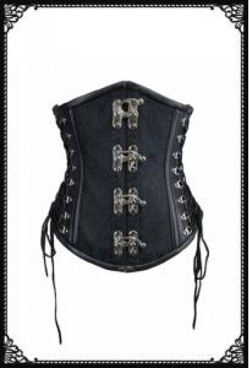 SaiSai Corset Steel Bone Underbust Black Paisley Pattern