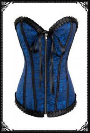 Briquette pattern corset with zipper(Blue)