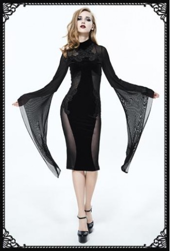 Eva Lady embroidered flared sleeves cross see through dress