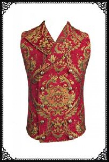 Devil Fashion Double Breasted Embroidered Damask Red&Gold Waistcoat