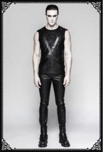 Punk Rave Pu Strap Sleeveless T-shirts
