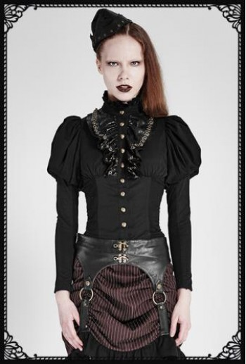 Punk-Rave Steampunk Corset Shirt(BK)
