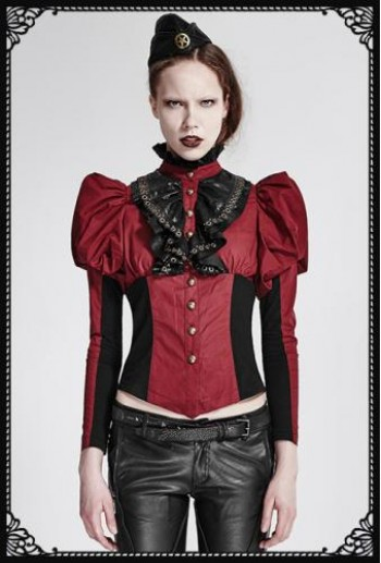 Punk-Rave Steampunk Corset Shirt(RD)
