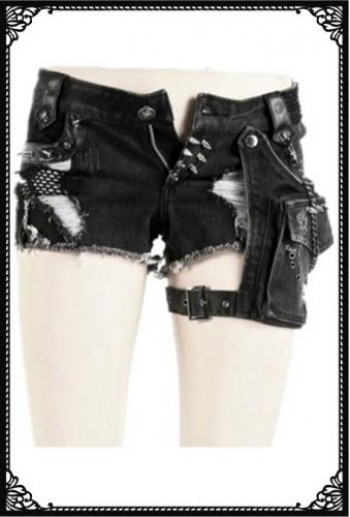 Punk Rave Studded shorts with removable pocket