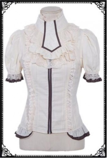 RQ-LB SteamPunk ruffles short sleeve shirt(WH)