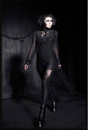 Punk-Rave Gothic long embroider shirt