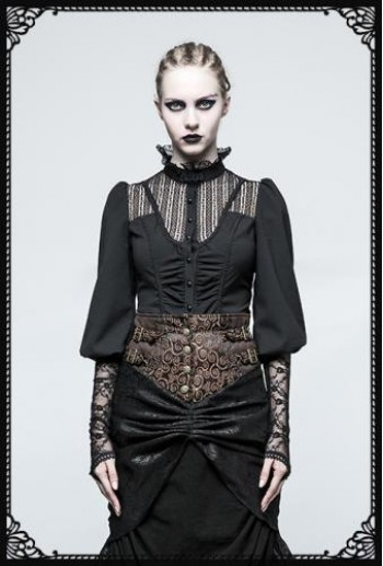 Punk Rave Victorian Gothic Long Sleeves Black Shirt