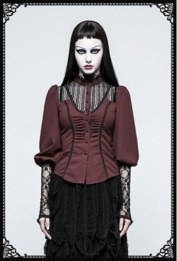 Punk Rave Victorian Gothic Long Sleeves Dark Red Shirt