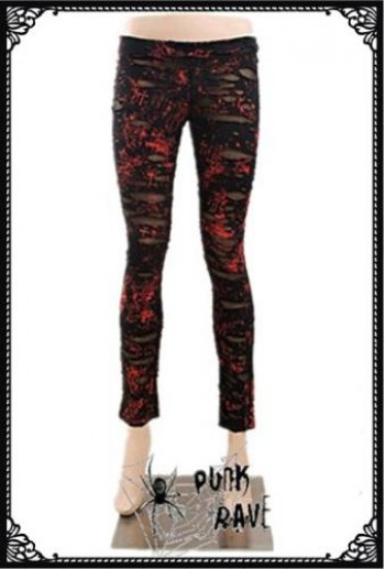Mesh ripped leggings-Red