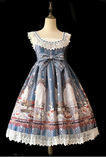 Bunny Tea Party Blue Lolita Dress