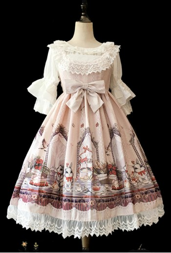Bunny Tea Party Pink Lolita Dress
