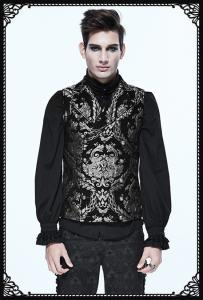Devil Fashion Double Breasted Embroidered Damask Silver Waistcoat