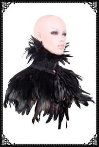 Victorian gothic feather shrug/cape(BK/Green)