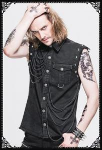 Devil Fashion Punk studs sleeveless shirt