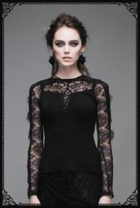 Gothic cariad embroidered lacy top