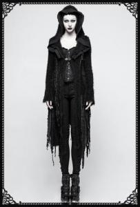 Punk Rave Black Death Ripped Cardigan